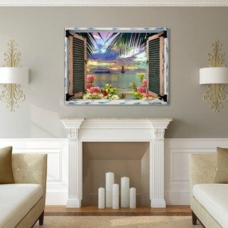 Leo Kelly 'Tropical Window to Paradise III' Canvas Art