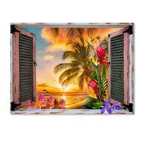Leo Kelly 'Tropical Window to Paradise II' Canvas Art