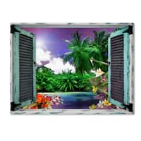 Leo Kelly 'Tropical Window to Paradise I' Canvas Art
