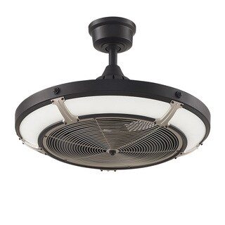 Fanimation Pickett Drum 24-inch Diameter Ceiling Fan - Black with Brushed Nickel Accents & LED