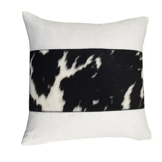 Rennes Black/White Linen and Cowhide Throw Pillow