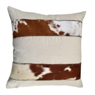 Paris Brown/White Linen/Cowhide Throw Pillow