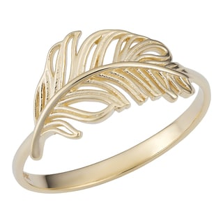 Fremada 14k Yellow Gold Feather Ring