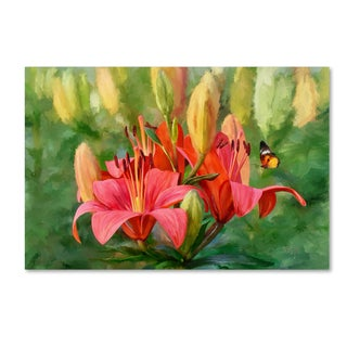 Lois Bryan 'Orange Lilies and Butterfly' Canvas Art