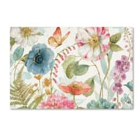 Lisa Audit 'Rainbow Seeds Flowers I on Wood' Canvas Art