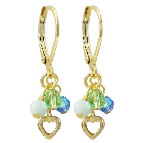 Luxiro Gold Finish Semi-precious Gemstone and Crystal Bead Heart Children's Dangle Earrings
