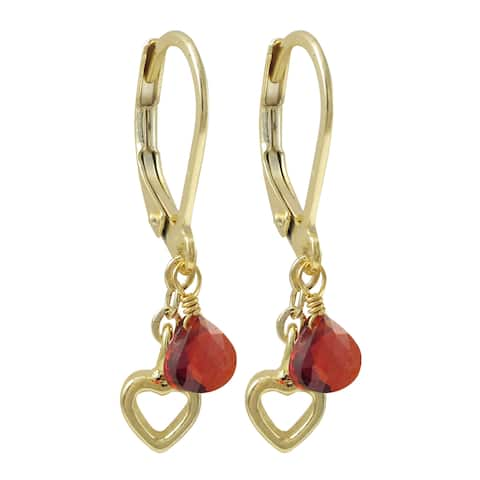 Luxiro Gold Finish Cubic Zirconia Heart Children's Dangle Earrings