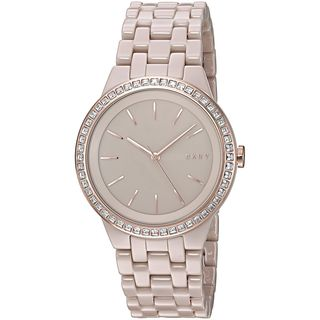 DKNY Women's NY2530 'Park Slope' Crystal Beige Ceramic Watch