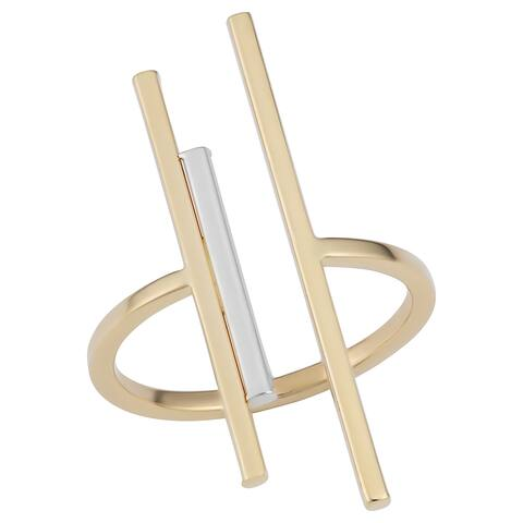 Fremada 14k Two-Tone Gold Open Triple Bar Ring