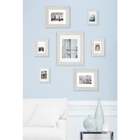 7 Piece Distressed White Mixed Profile Frame Kit