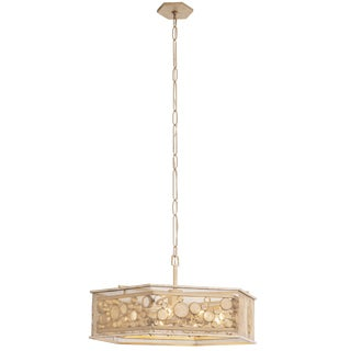 Varaluz Fascination 9-Light Zen Gold Hex Pendant with Champagne Recycled Glass