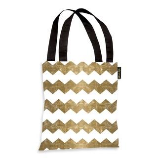 Oliver Gal 'Chevron Crazy - Gold' Tote Bag