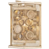 Varaluz Fascination 1-Light Zen Gold Hex Wall Sconce with Champagne Recycled Glass
