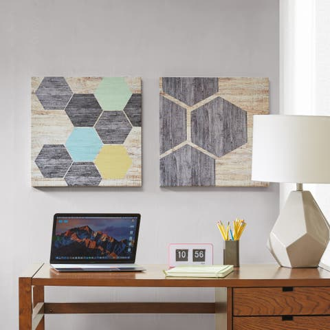 Intelligent Design Hexagon Puzzle Multi 2-piece Gel Coat Canvas with MDF Stretcher Bars