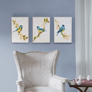 Madison Park Trellis Song Birds Blue Deco Box 3 Piece Set