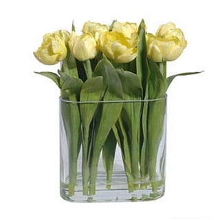 Gold Eagle Faux Tulips in Clear Glass Vase