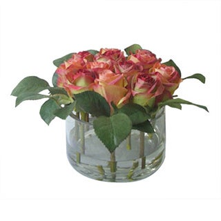 Gold Eagle Faux Roses with Clear Glass Vase