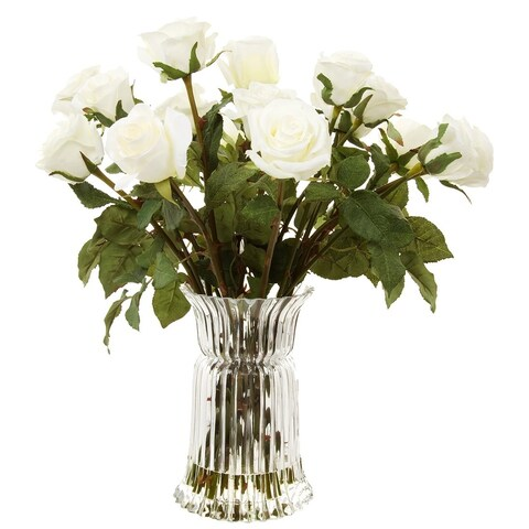 Gold Eagle White Roses with Glass Vase