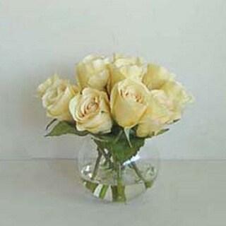 Gold Eagle Rose in Glass Bowl Faux-flower Arrangement