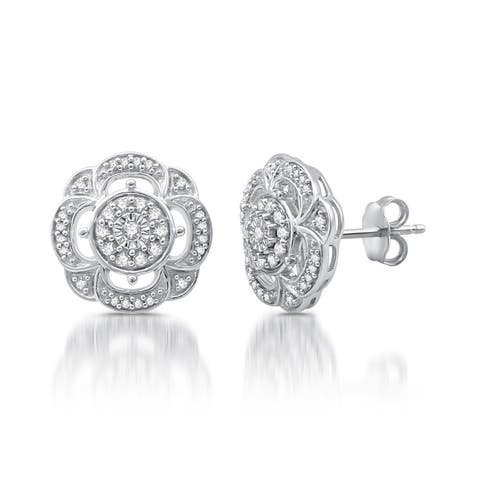 1/6 CTTW Diamond Vintage Flower Stud Earrings In Sterling Silver (I-J, I2-I3)