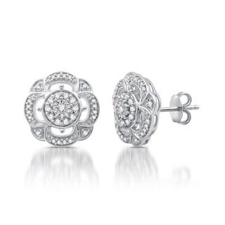 1/6 CTTW Diamond Vintage Flower Stud Earrings In Sterling Silver (I-J, I2-I3)