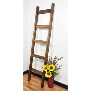 Modern Farmhouse Dark Walnut Decorative Ladder