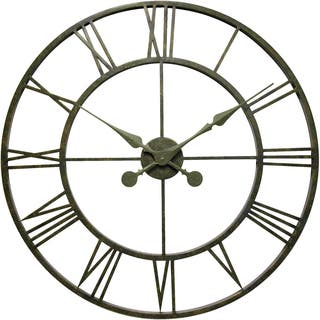 Infinity Instruments The Iron Tower Pewter Metal 30-inch Wall Clock|https://ak1.ostkcdn.com/images/products/15647754/P22077568.jpg?impolicy=medium