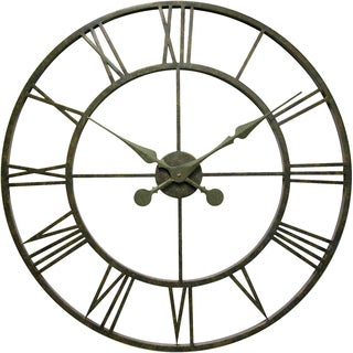 Infinity Instruments The Iron Tower Pewter Metal 30-inch Wall Clock