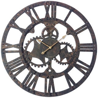 Infinity Instruments Rusted Gear Aluminum and Wood 35.5-inch Wall Clock