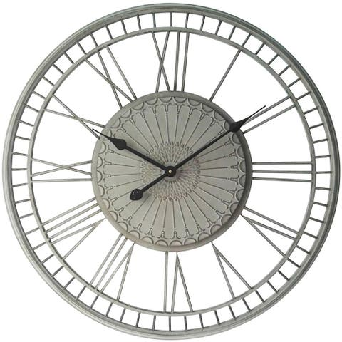 Country Lace Large Grey Roman Numeral Open Face Wall Clock 27.5 inch by Infinity Instruments - 30 x 31 x 4