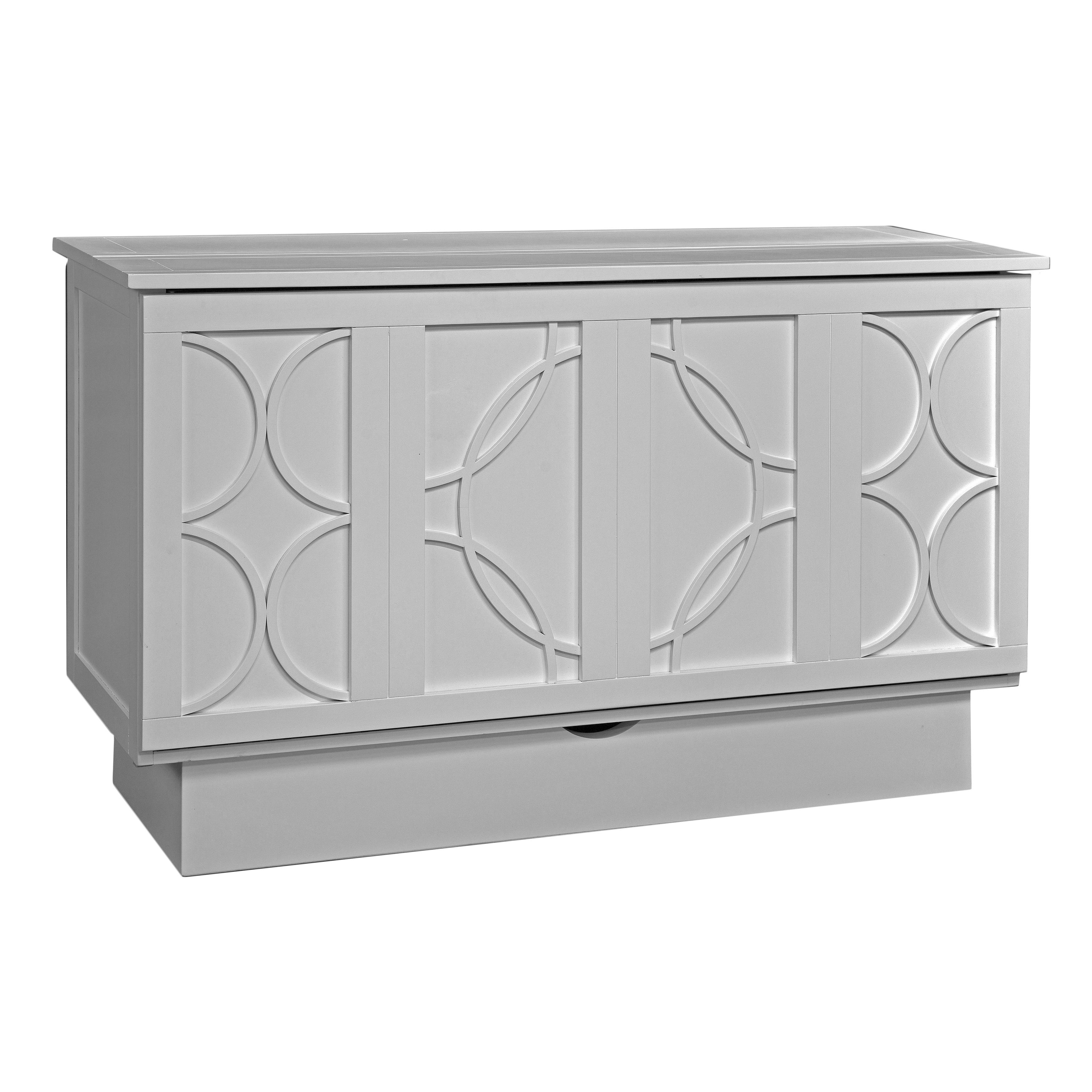 Bristol White Cabinet Bed with Mattress (White), Size Queen