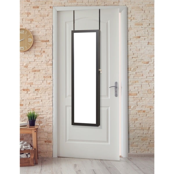White Over-the-door Jewelry Armoire with 2 Keys