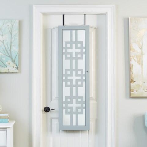 Modern Armoire with Decorative Mirror - Grey