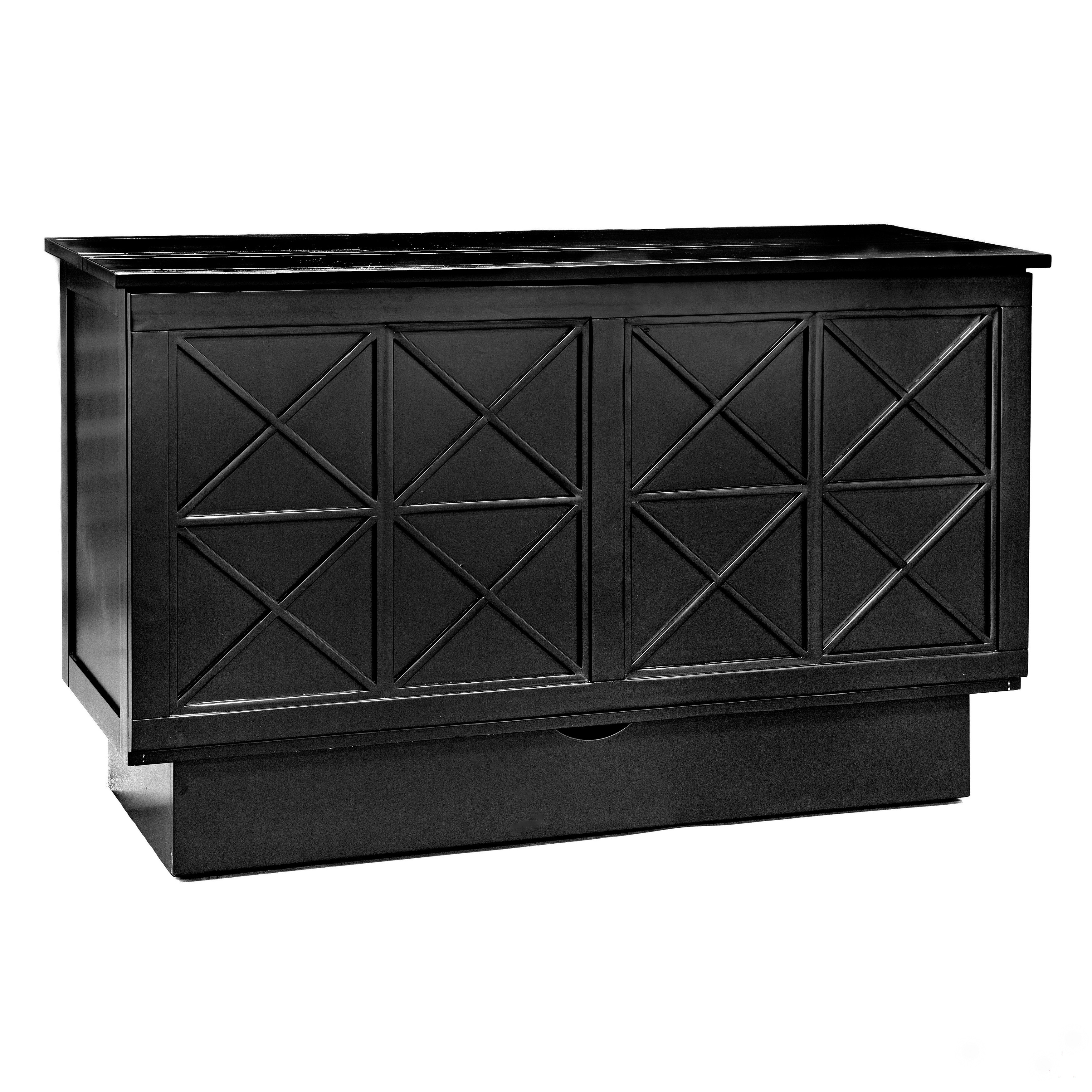 Essie Black Finish Wood/Linen/Fabric Cabinet Bed with Mat...