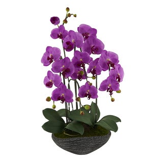 Red Vanilla Phalaenopsis Soft Lavender Artificial Silk Orchid Centerpiece