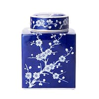 Bombay 6x8in Blue And White Cherry Blossom Ceramic Jar With Lid