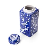 Bombay  Blue And White Cherry Blossom Ceramic Jar With Lid
