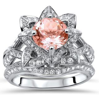 14k White Gold 2 3 4ct TGW Round Cut Morganite Diamond Lotus Flower Engagement Ring Bridal Set G H SI1 SI2