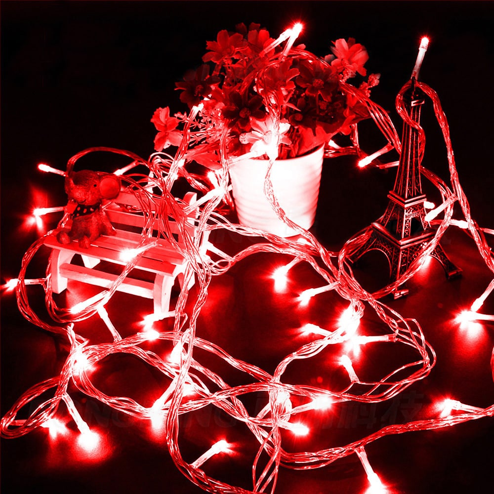 100 LED String Light w/ connector - Red (32ft, Red) (Plas...