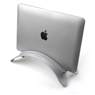 Urbo Vertical Laptop Stand with Interchangeable Inserts to Accommodate Laptops of Varying Thickness
