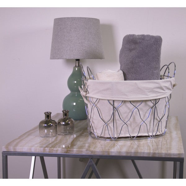 2pc Oval Metal Basket with Liner and Ear Handles
