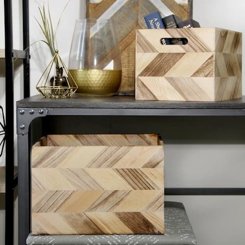 3pc Wood Basket Set with Zig Zag Detail and Cut Out Handles