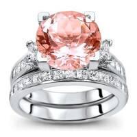 Noori 14k White Gold 4 3/4 ct TGW Round-cut Morganite Diamond Engagement Ring Bridal Set (G-H, SI1-SI2)