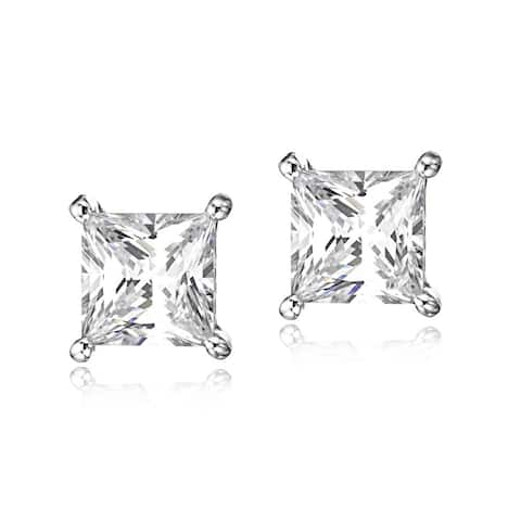 Surgical Steel Rhodium Plated Clear Cubic Zirconia Princess Cut Square Stud Earrings