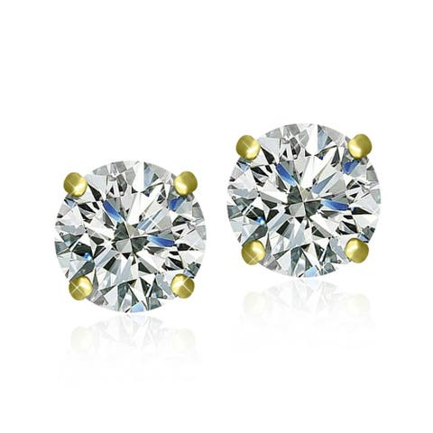 Surgical Steel Gold Plated Clear Cubic Zirconia Brilliant Cut Round Stud Earrings