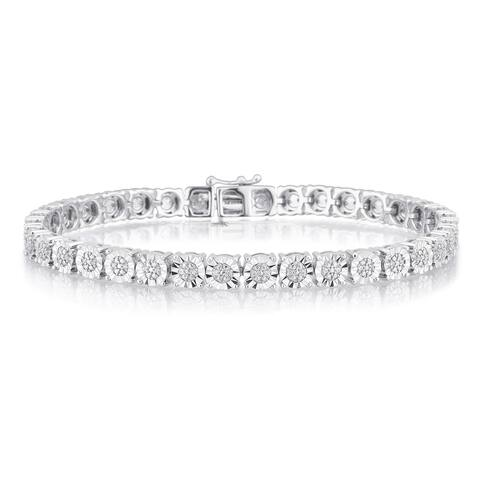 Divina Sterling Silver 1/4ct TDW Diamond Tennis bracelet with faceted miracle plate.(I-J,I2-I3)