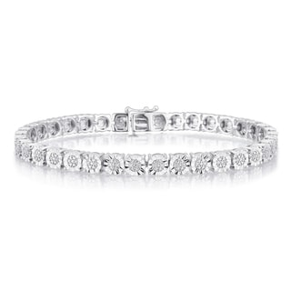 Divina Sterling Silver 1/4ct TDW Diamond Tennis bracet with faceted miracle plate.(I-J,I2-I3)