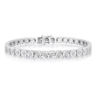 Divina Sterling Silver 1/4ct TDW Diamond Tennis bracet with faceted miracle plate.(I-J,I2-I3)|https://ak1.ostkcdn.com/images/products/15648005/P22077769.jpg?impolicy=medium