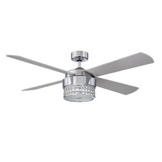 Celestra Chrome and Optic Crystal 52-inch Ceiling Fan