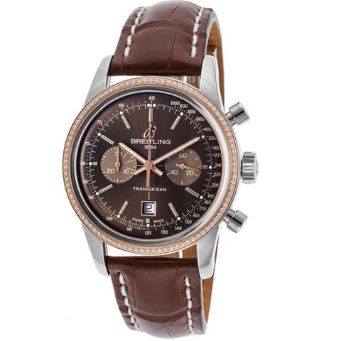 Breitling Unisex U4131053-Q600LS 'Transocean 38' 18kt Rose Gold Chronograph Automatic Brown Leather Watch - rose gold